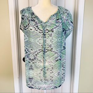 Cabi Green & Blue Sheer Snake Skin Print Top Sz XS